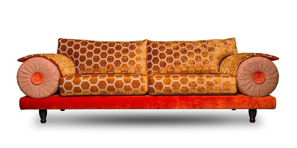 de oosterse casablanca bnak in oranje stoffen