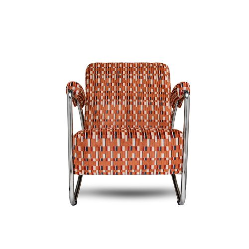 de chroombuis stoel van dutch seating company met de underground stof van Kirkby design
