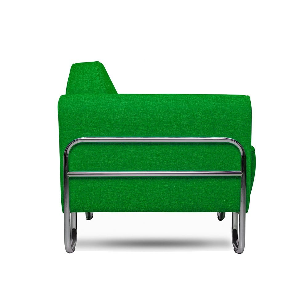een buisframe fauteuil dyker 30 in een felle groene kleur