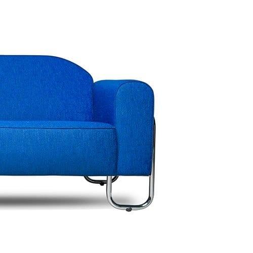 een blauwe stof van 100% trevira