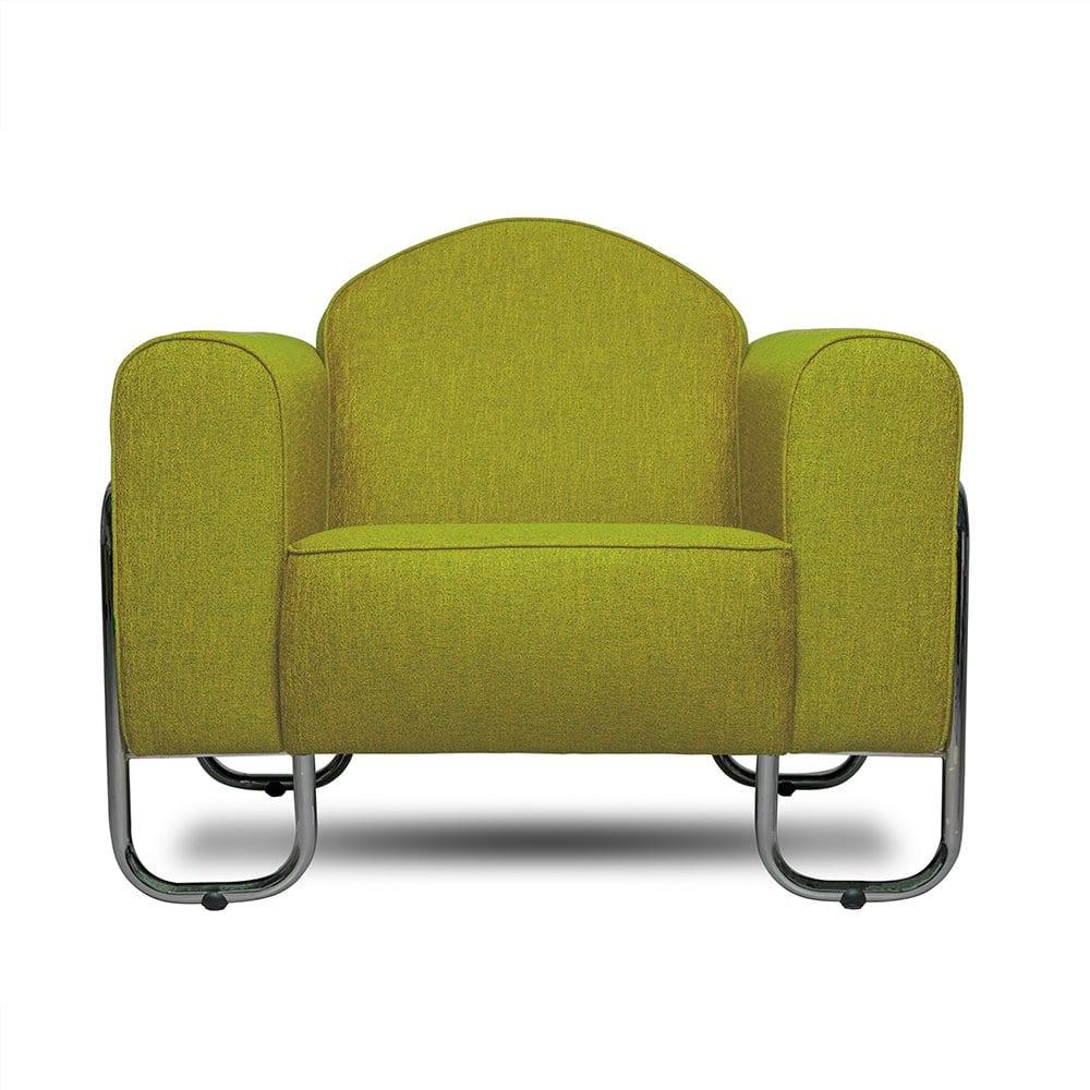 Buisframe fauteuil Dyker 30 in de limoengroene kleur Eriska lemongrass