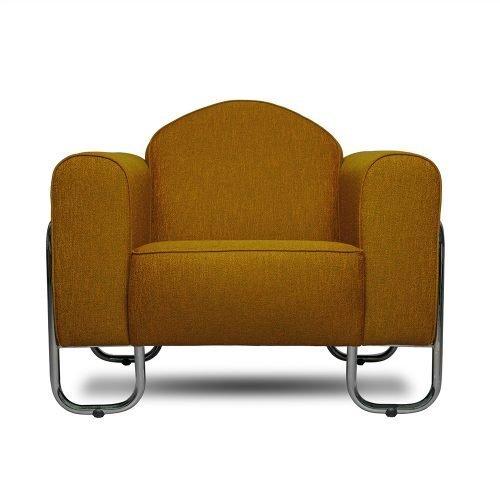 Buisframe fauteuil Dyker 30 in de bruine kleur Eriska saffron
