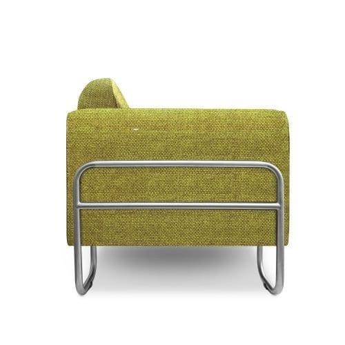 De bauhausen-stijl bank Dyker 30 in de stof Birkett apple van Designers Guild
