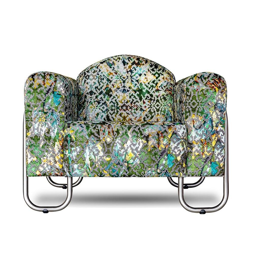 chroombuis stoel met de exclusieve stof van designers guild bardiglio emerald