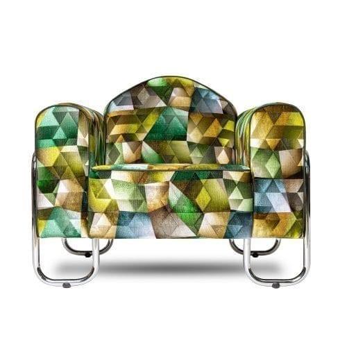 hoogglans chroombuis stoel, met de stof Maurier emerald van Designers Guild.