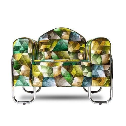 buisframe fauteuil uit de jaren 30 met designers guild stof