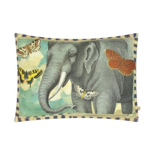 Een prachtig ontwerp van John Derian van een olifant omringd door vlinders.