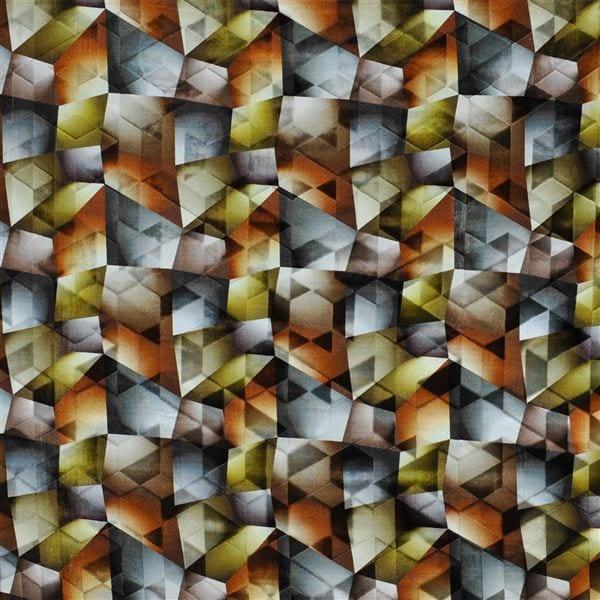 Een magische stof met vele verschillende oker tinten en Designers Guild