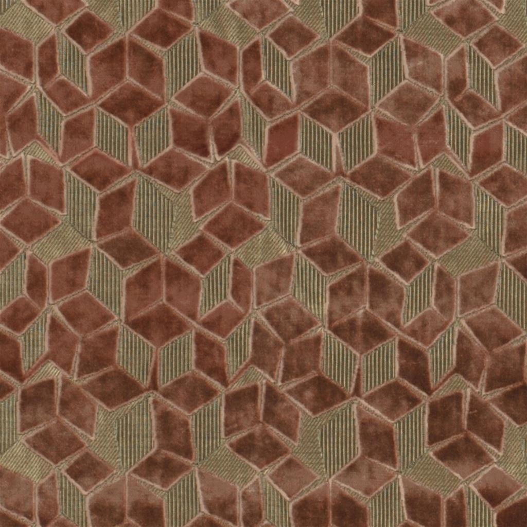 De fluwelen stof Fitzrovia natural met off-set geometrisch patroon van Designers Guild