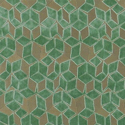 De fluwelen stof Fitzrovia antique jade met off-set geometrische patronen