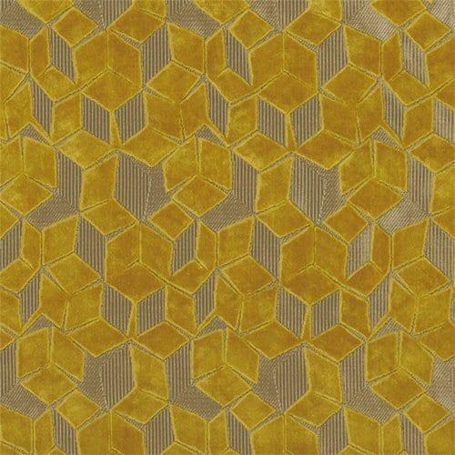 De fluewelen fitzrovia bestaat uit off-set geometrische patronen in het okergeel