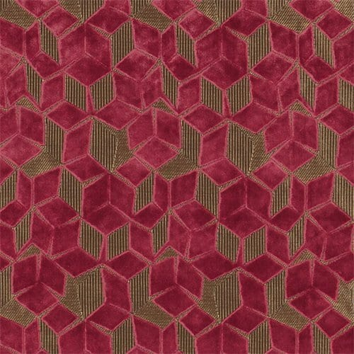 De fluwelen Fitzrovia rasberry met off-set geometrisch patroon van Desginers Guild