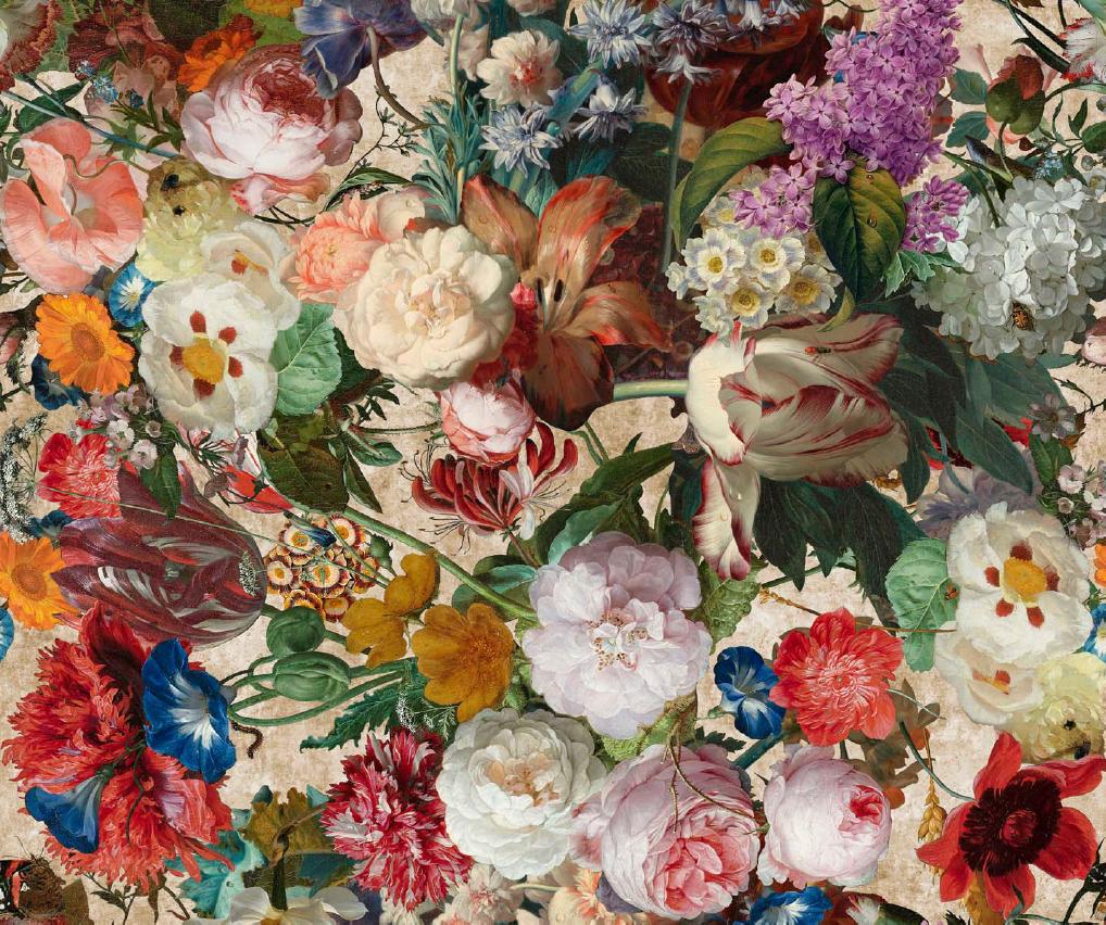 een bloemrijke stof met veel kleuren