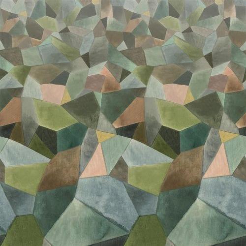 Een grafisch behang met vele kleuren, Geo Moderné van Designers Guild