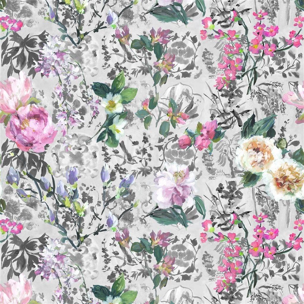 Een prachtig bloemenbehang van Designers Guild, Majolica slate