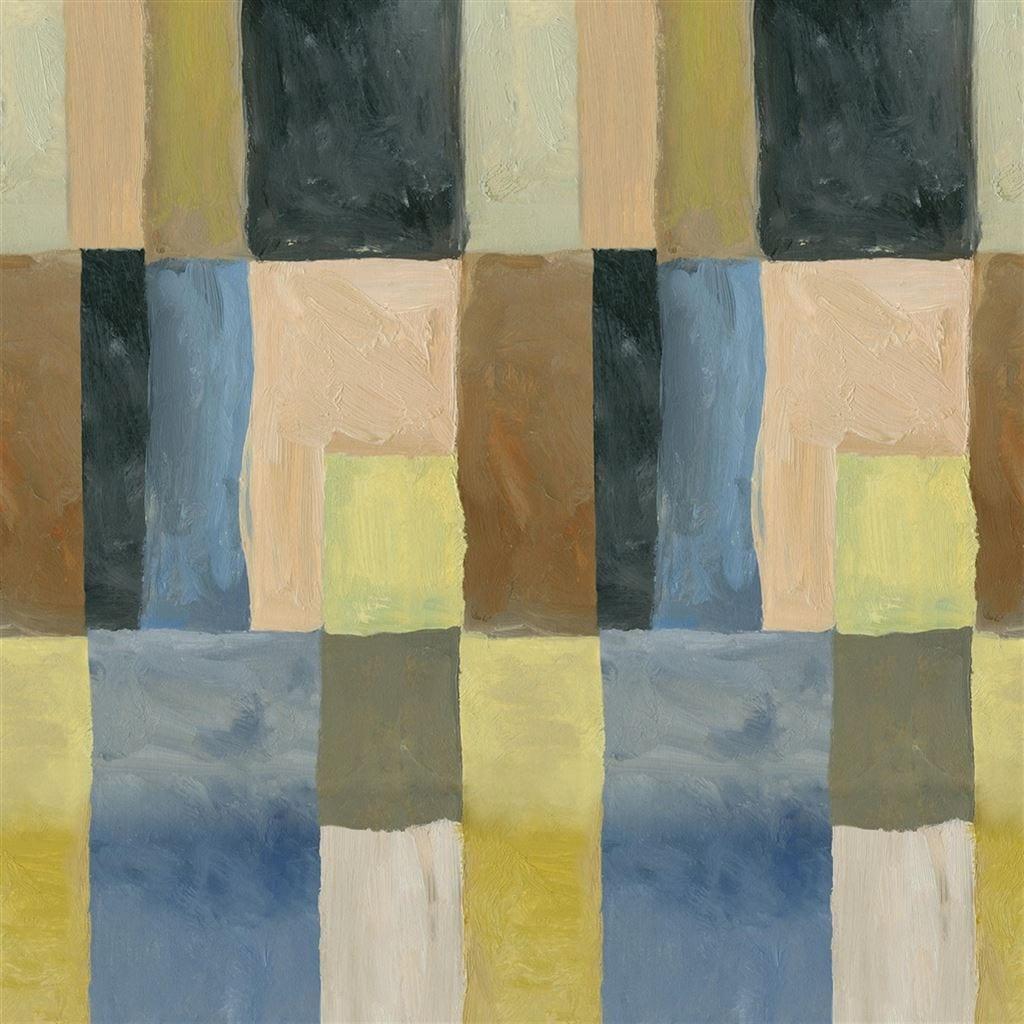 Otto Mosaic is een prachtig, grafisch behang met grote vierkanten van Designers Guild