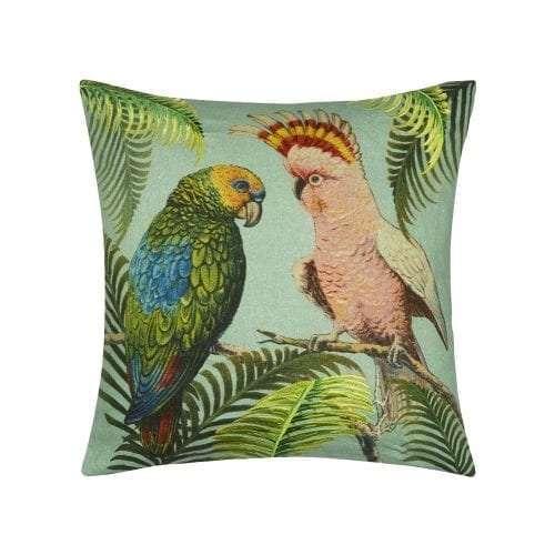 Parrot & Palm Azur kussen met papagaai