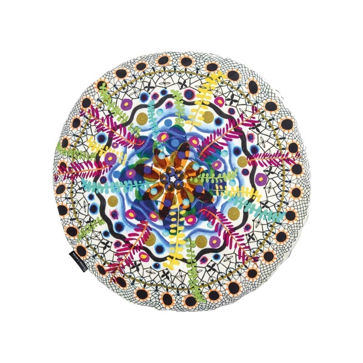 Een kleurrijk, rond kussen van Christian Lacroix, Rosetta - Multicolore