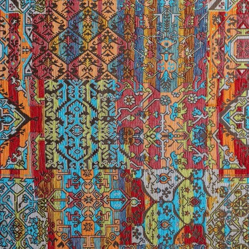 Oosterse, kleurrijke stof in een bruine kleur multicolor, Setenta multicolor