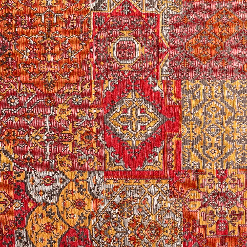 Oosterse, kleurrijke stof in een bruine kleur rood, Setenta rood