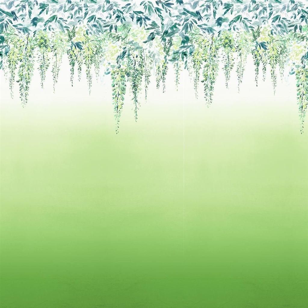 Summer palace grass is een bijzonder behang met een kleurverloop en dessin van hangende bloemen.