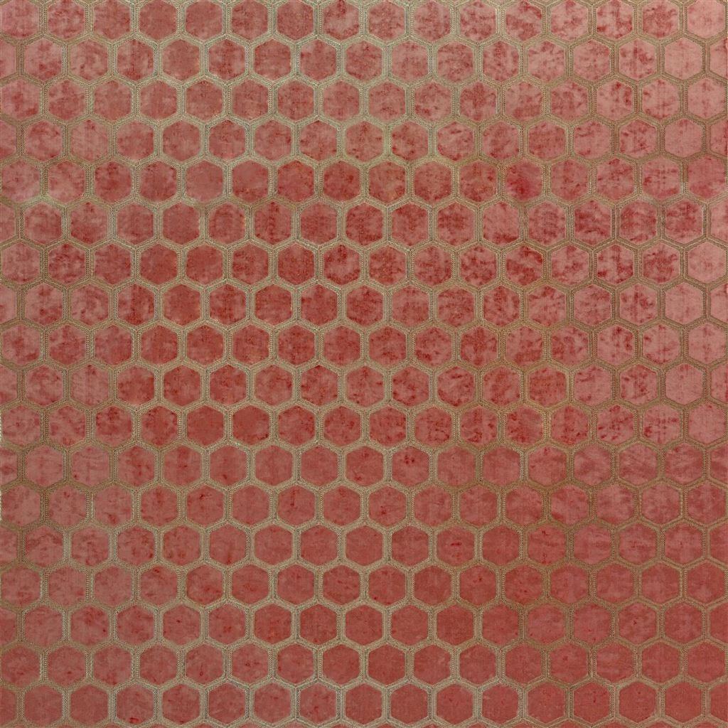 De prachtige fluwelen stof met honinggraad patroon, Manipur coral