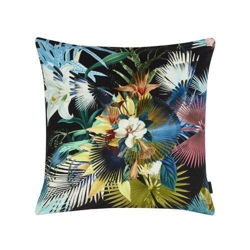Exotische bloemen gedrukt op een kussen met donkere achtergrond, van Christian Lacroix
