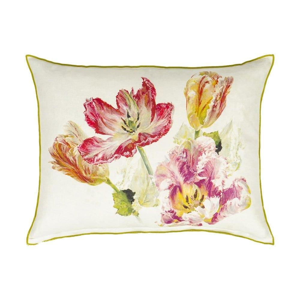 Zomerse bloemen in vele variaties, het kussen Spring Tulip Buttermilk is prachtig.